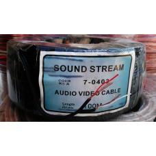 кабель аудио-видео 2жил, черный, 100м