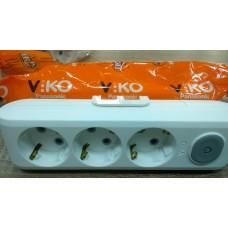 Колодка на 3гнезда VIKO Multilet с заземлением и выключателем
