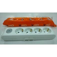 Колодка на 4гнезда VIKO Multilet с заземлением и выключателем